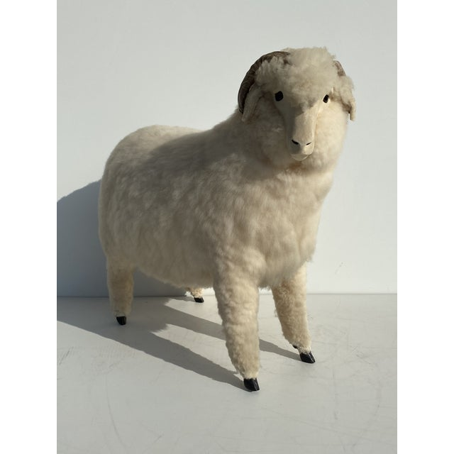 Vintage sheep in the style of Lalanne. Can also be used as a footrest or just a decorative sculpture.