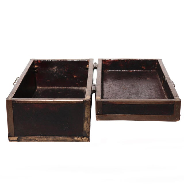 Chinese Brass and Lacquered Wood Box, simple wood box with a brass edgings and front lock plate, wood section covered in a...