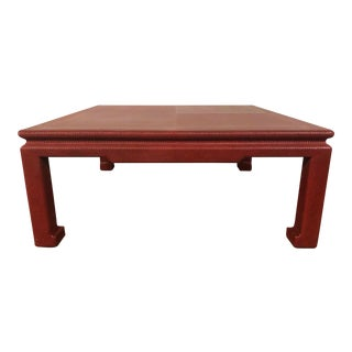 Ming Style Red Wrapped Coffee Table For Sale