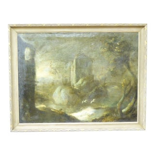 18th Century Landscape Gray Oil Painting on Canvas For Sale