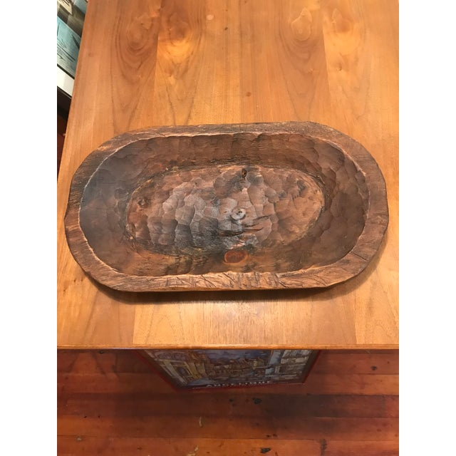 Primitive Hand Carved Oblong Wood Dough Bowl - Image 6 of 6