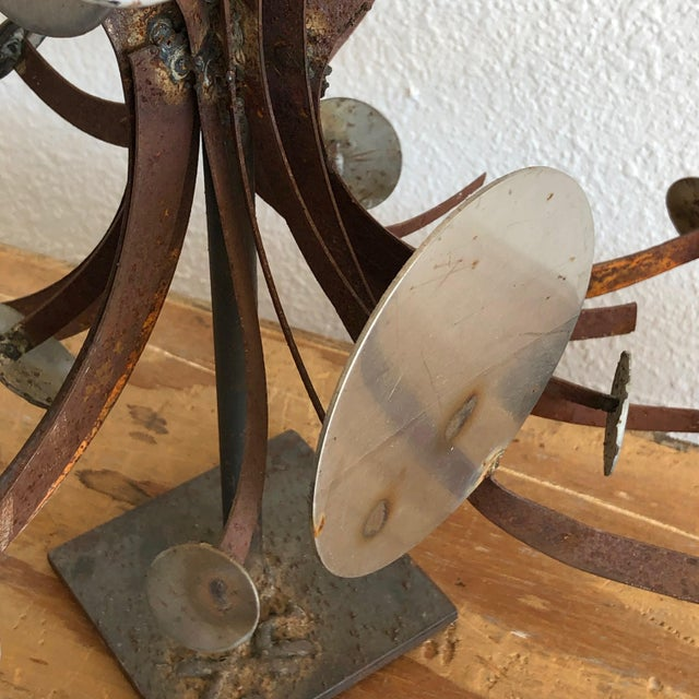 1980s Frank Cota Brutalist Metal Table Sculpture For Sale - Image 5 of 12