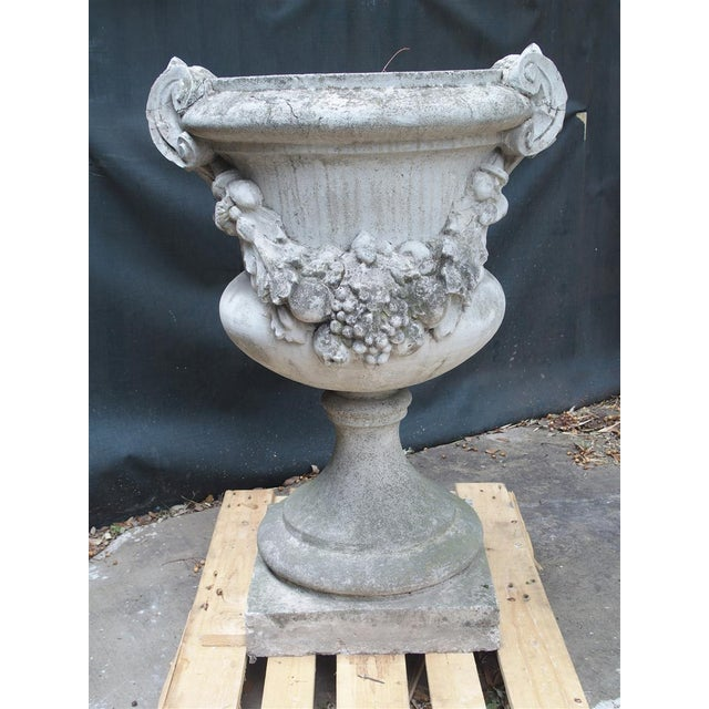 From Italy, this beautiful pair of cast stone urns were sold from a large property near Naples. Each urn has thick floral,...