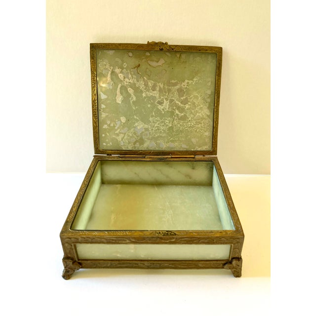 Chinese Antique Chinese Jade & Brass Box For Sale - Image 3 of 9