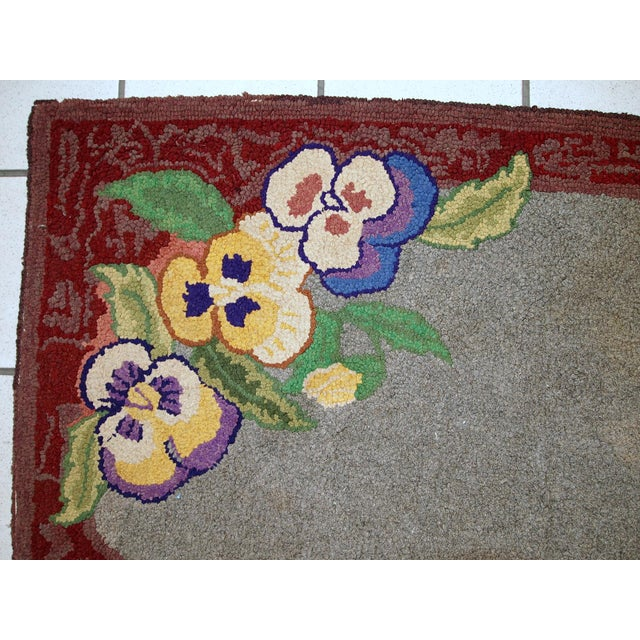 """1920s Antique American Hooked Rug - 2' X 3'3"""" For Sale - Image 9 of 10"""