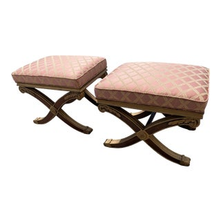 Vintage Mid Century Hollywood Regency Vanity Footstools - a Pair For Sale