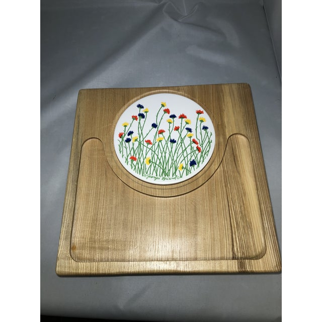 Georges Briard Georges Briard Wooden Tray With Floral Tile For Sale - Image 4 of 4