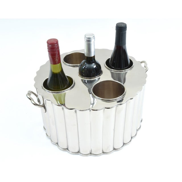 Mid 20th Century Silver Plate Four Bottles Holder Barware / Tableware With Handles For Sale - Image 5 of 10