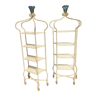 Italian Mid Century Wrought Iron Etageres - a Pair For Sale