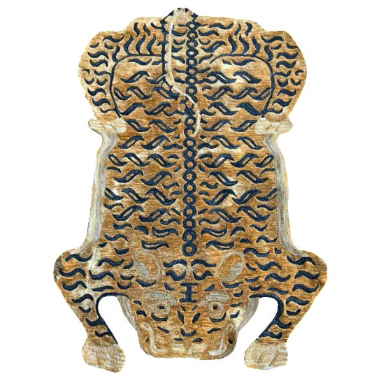 New Modern Wool Tibetan Tiger Cat Rug 4' X 6' For Sale