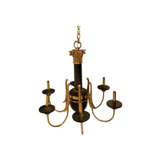 Nulco Classical Black Marble & Brass 6-Light Chandelier For Sale