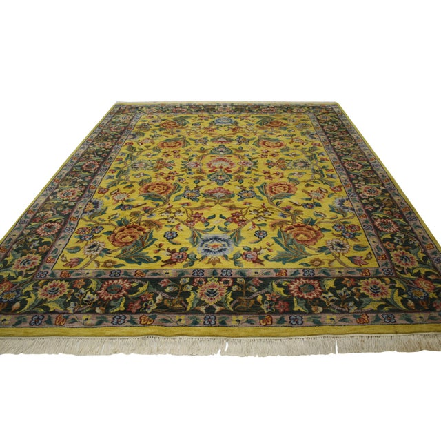 "Vintage Traditional Style Yellow Area Rug - 7'10"" x 9'9"" - Image 3 of 5"