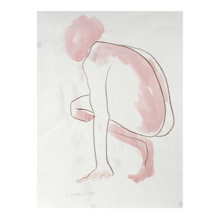 Crouching Figure With Pink, Watercolor Nude, 1975