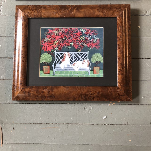 2010s King Charles Spaniel Dog Print by Judy Henn Burled Wood Frame For Sale - Image 5 of 5