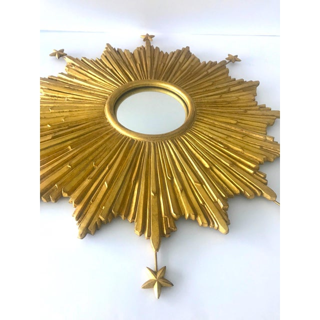 1990s Exquisite Starburst Mirror With Antique Gold Leaf Finish For Sale - Image 5 of 13
