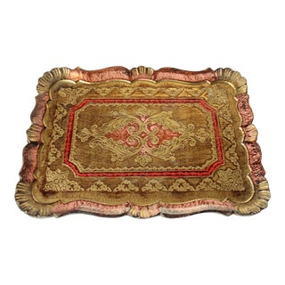 1960s Vintage Florentine Tray in Gold, Pink Rose With Red Accents For Sale