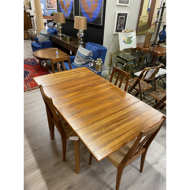 Danish Modern 1960s Brdr Furbo Teak Dining Table & 4 Chair MCM Midcentury Modern Currently displayed with 2 leaves...
