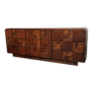 Brutalist Lane Walnut Dresser For Sale