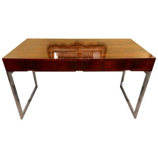Quality Mid-Century Modern Rosewood Desk on Chrome Base For Sale