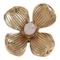 "Addison Weeks Dogwood 2"" Custom Knob - Polished Brass & Rose Quartz For Sale"