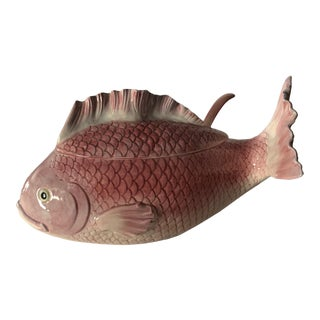 Fitz and Floyd Pink Fish Soup Tureen with Ladle For Sale