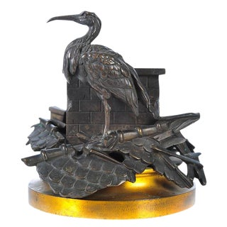 19th C. Figural Stork on Chimney Bronze Centerpiece For Sale