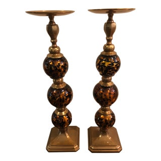 Amber Tortoise Glass and Brass Candleholders - a Pair For Sale
