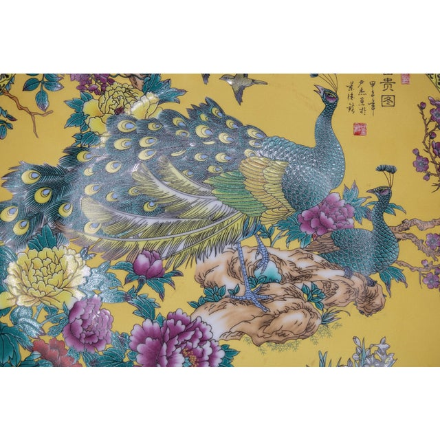 Vintage Asian Modern Canary Yellow Ceramic Peacock Charger For Sale - Image 9 of 12