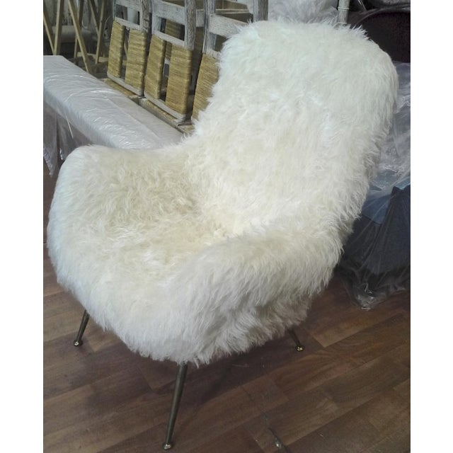 Contemporary Fritz Neth Pair of Comfy Lounge Chairs Newly Covered in Sheep Skin Fur For Sale - Image 3 of 9