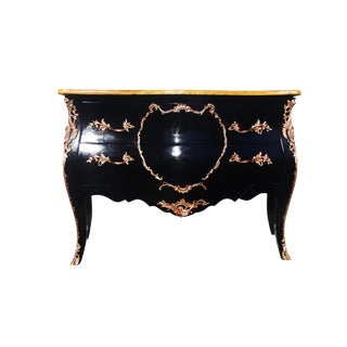 1940s French Louis XV Black Lacquer and Bronze Chest of Drawers/Dresser For Sale