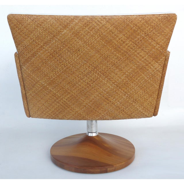 Saccaro Brazilian Caned Swivel Chairs With Wood Bases - a Pair For Sale - Image 11 of 13