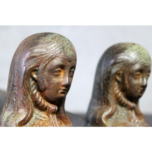 Antique French Cast Iron Female Figural Andirons or Firedogs - Pair For Sale - Image 7 of 11
