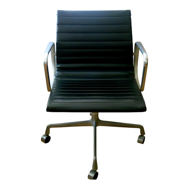 Eames-Herman Miller Aluminum Leather Group Management Chair For Sale