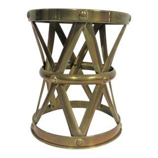 Vintage Mid Century Sarreid Style Brass Stool For Sale