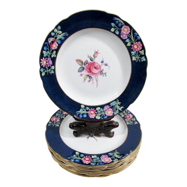 Antique Spode Copeland Billingsley Pink Rose Luncheon Plates - Set of 8 For Sale