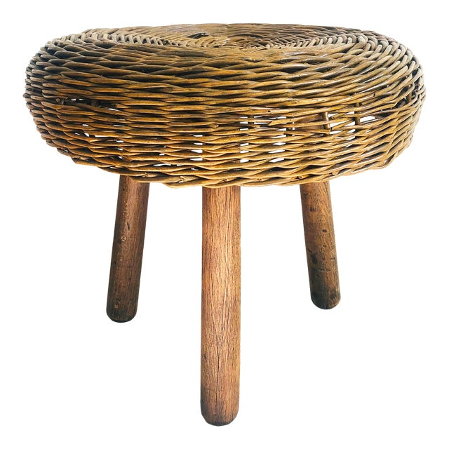 Vintage Tony Paul Wicker Stool For Sale