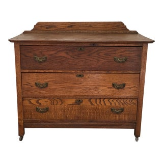 1960s Primitive Rustic Oak Chest of Drawers For Sale