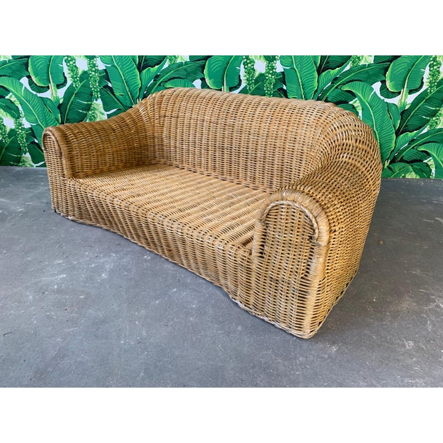Sculptural Wicker Sofa in the Manner of Michael Taylor For Sale - Image 11 of 11