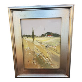"""Yellow Landscape """"Rural America"""" Painting, Signed Benton - Silver Frame For Sale"""