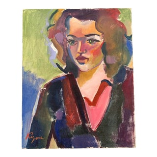 1950s Expressionist Style Portrait of a Woman Oil Painting on Canvas For Sale