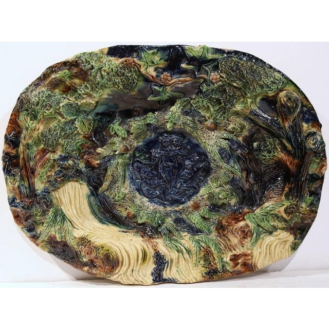 19th Century French Barbotine Hand Painted Majolica Palissy Platters - A Pair - Image 4 of 11
