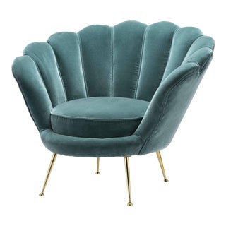 Blue Scalloped Accent Chair | Eichholtz Trapezium For Sale