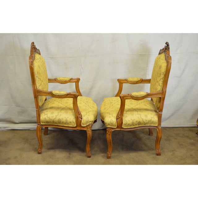 Quality Pair of Custom Upholstered Solid Walnut Louis XV Style Arm Chairs - Image 3 of 10