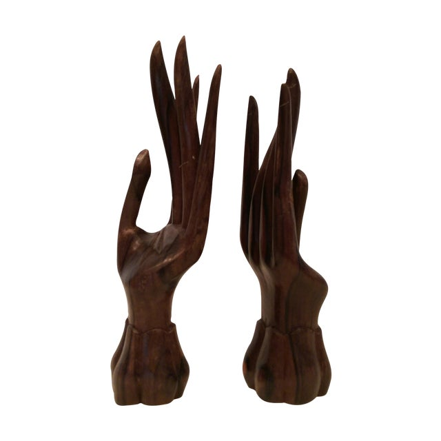 Carved Wooden Hand Sculptures - A Pair - Image 1 of 7