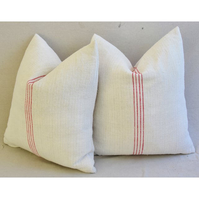French Country Red Striped Gain Sack Pillows - Pair For Sale - Image 11 of 11