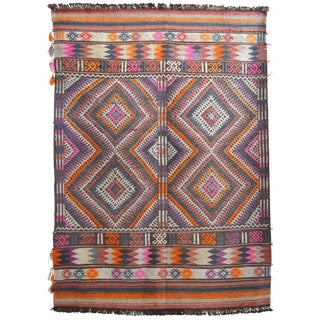 Turkish Hand Woven Wool Antique Jajim Petite Kilim Rug - 3′5″ X 4′9″ For Sale