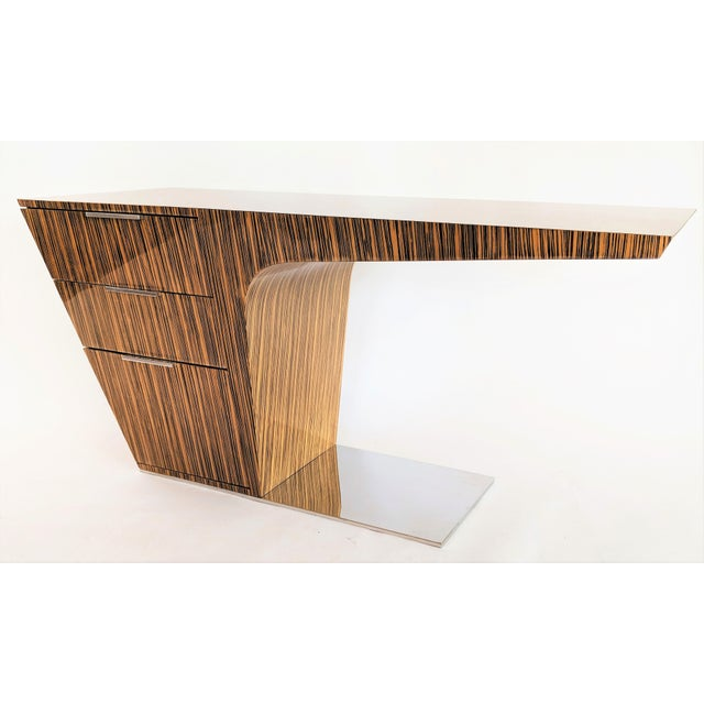 Zebra Wood Modern Cantilever Desk For Sale - Image 13 of 13
