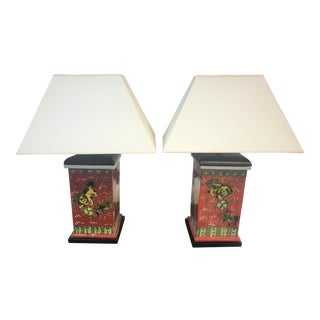 Foo Dogs Motif Lamps with Shades - a Pair For Sale