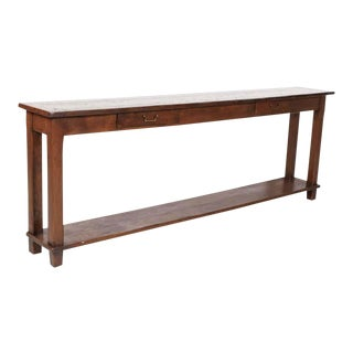 Rustic Antique Country French Oak and Pine Console Table With Drawers For Sale