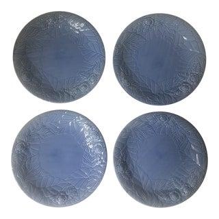 Portuguese Majolica Soft Blue Serving Plates - Set of 4 For Sale